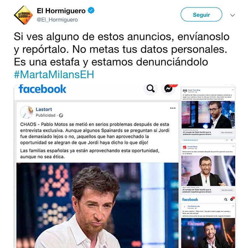 Pablo motos denuncia en el hormiguero estafa bitcoin redes sociales y facebook